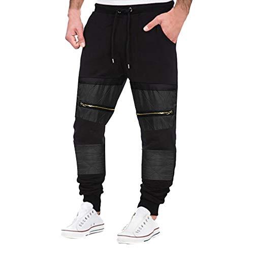 PASATO Clearace Sale! Mens Autumn Hip Hop Joggers Patchwork Casual Drawstring Sweatpants Trouser Pants(Black, XXXL) by PASATO
