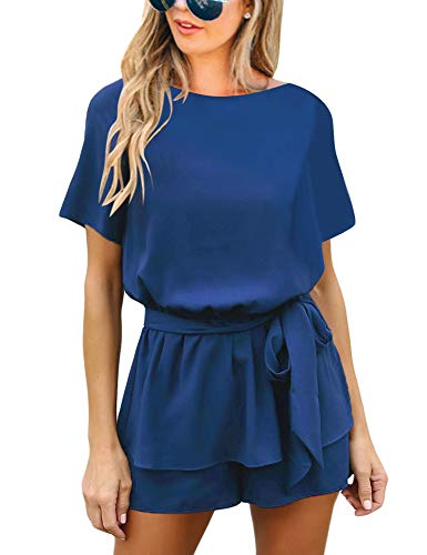 Utyful Women's Casual Short Sleeve Belted Keyhole Back One Piece Royal Blue Jumpsuit Romper Size Medium (Fits US 8 - US 10) ()