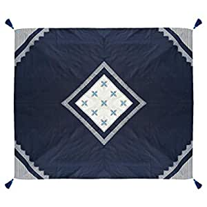 Turathna Cotton Handmade Cross Stitch Charm Table Cover - Navy Blue