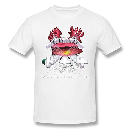 - Uguccgi Men R. Rodgers Metallica - Master of Puppets Funny Short Sleeve T Shirt White 6XL
