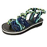 Women's Summer Beach Sandal,CSSD Ladies' Braided Rope Flat Sandals Summer Casual Beach Shoes Hand-Woven Slingback (8, Sky Blue)