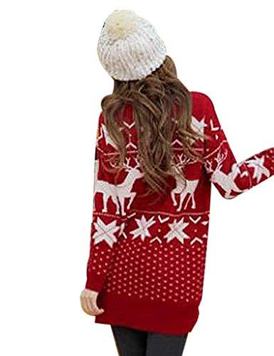 Elgante D't Femme Rond Noel Robe Imprim Automne Fashion Fille Christmas en Vert Court Pull Pulls Manches Reindeer Sweater Col Vtements Maille Hiver Robes Festive Tricot Longues Large wqPExCtnEg