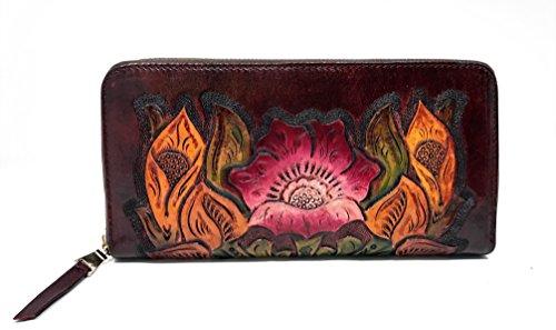 Painted Leather Hand Wallet Flower (Mauzari Designer Paras Single Zipper Wallet (Burgundy))