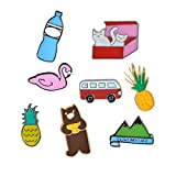 8 pcs Cute Cartoon Enamel Pin Set for Girls, Flamingo Kitten Hiking Series