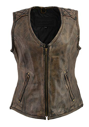 (M-Boss-Ladies Leather Plain Side Zipper Front Vest-BLK/BEIGE-M)