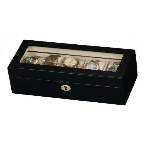 ** Nagelneu Entwurf ** von Mele & Co 5 Uhr Collectors Box in Satin Black Wood Finish perfekt für alle Uhren mit Rolex Breitling Cartier Omega Tag Longines etc