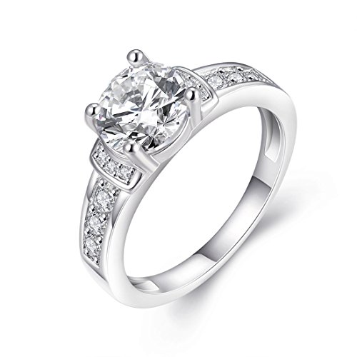 [Eternity Love] Womens Pretty 18K White Gold Plated Princess Cut CZ Crystal Engagement Rings Best Promise Rings for Her Anniversary Arrow Wedding Bands TIVANI Collection Jewelry Rings
