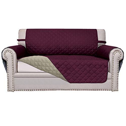Easy-Going Sofa Slipcover Reversible Sofa Cover Furniture Protector Anti-Slip Foams Couch Cover Water Resistant Elastic Straps PetsKidsChildrenDogCat(Loveseat,Wine/Beige)
