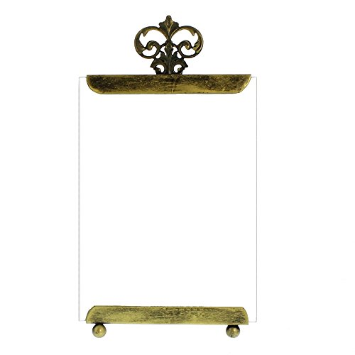 Ornate 5 x 7 Old World Metal Glass Easel Frame | Table Top Brass Vintage Style Vertical ()