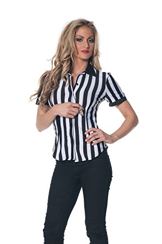 [Underwraps Women's Plus-Size Referee Fitted Shirt, Black/White, 3X-Large] (Referee Costume Plus Size)