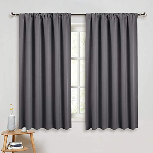 PONY DANCE Grey Blackout Curtains - Rod Pocket Drapes Thermal Insulated Panels Home Décor Window Treatments Draperies for Bedroom, 52 inch Wide by 45 inch Long, Grey, Sold as 1 Pair