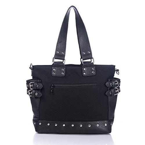 Moda De La Lona Del Bolso De Las Mujeres Con El Bolso De Hombro De Cuero Black