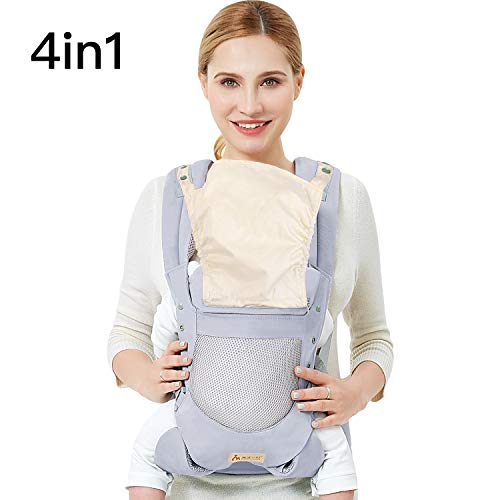 Infant Toddler Baby Carrier Wrap Backpack Front and Back, Hip Seat & Hood, Soft & Breathable Cotton, Cool Air Mesh, Gray