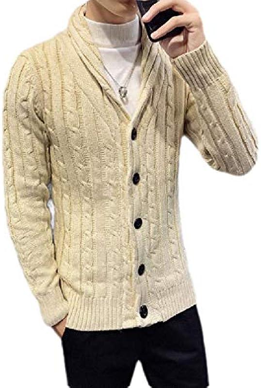 MU2M Mens Fashion Solid Shawl Collar Open Front Button Up Cardigan Coat: Odzież