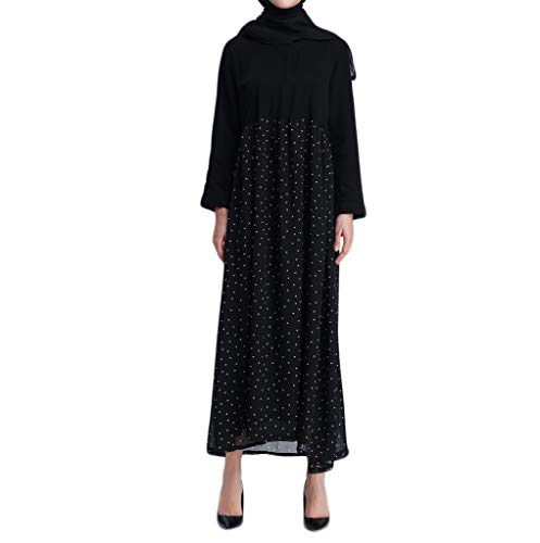 Keliay Bargain Muslim Women Islamic Splicing Easy Long Sleeves Plus Size Middle East Long Dress -