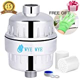 Shower Filter,2 Pack 15-Stages Replaceable Cartridge,Shower Head Filter to Remove Chlorine,Impurities and Heavy Metals-Dramatically Improves The Condition of Skin Hair and Nails, Contains bath gloves