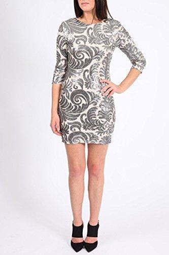 Pailletten Kleid verziert Größe Damen Nackt Design 36 figurbetontes Floral 42 EUR Hq7Ew7