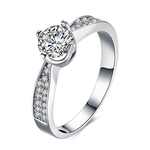 JoGray Women's 18K Platinum Plated 1.8ct Heart And arrows Cut Cubic-Zirconia Solitaire Wedding Engagement Ring US8