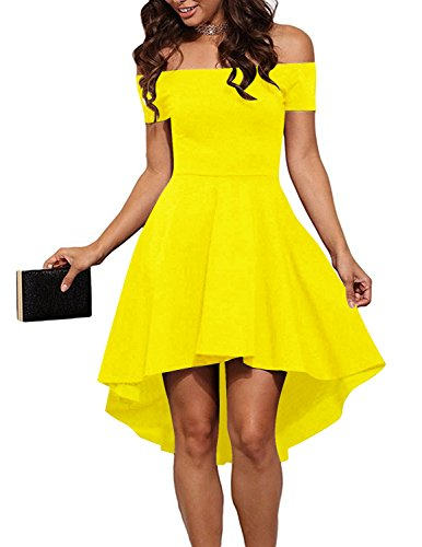 Sleeves Yellow Dress With Short Formal Women Casual Shoulder Cocktail Aolakeke Party Off qvUOAxBw