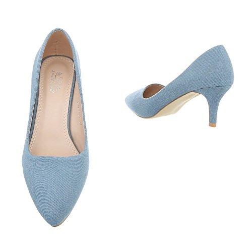 Hellblau chaussures Design Ital 104LF 5015 compensées femme xqvn57IC