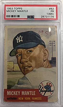 944671d38 Image Unavailable. Image not available for. Color  1953 Topps   82 Mickey  Mantle New York Yankees ...