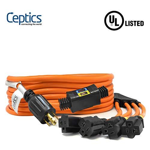 Ceptics  L14-30P to NEMA 5-15/20R Generator Distribution Power Cord (25' Feet, Switch Breaker Protection) - UL Listed, Industrial Grade, Heavy Duty (5 Year Warranty)