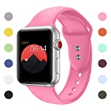 YOUKEX Sport Band For Apple Watch,Soft Silicone Strap Replacement Wristbands For Apple Watch Sport Series 3 Series 2 Series 1 NIKE+ Sports and Edition (Pink 42mm S/M)