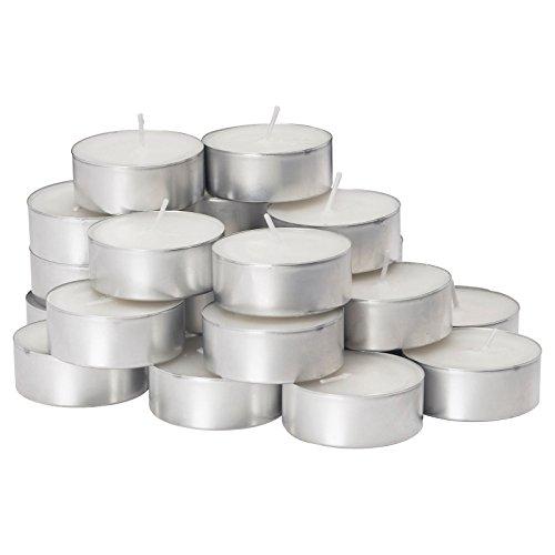 7 Hour Bulk Unscented Long Burning White Tea Light Candles -