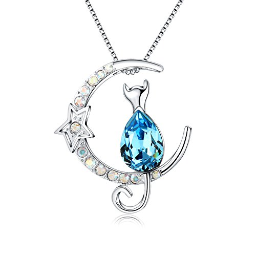 JCHORNOR Moon Pendant Circling with Cat of Blue Crystal Necklace, Fashion Jewelry Crystals from Swarovski,Daily Collocation for Women,Girls,Cat Lover,Children's Gift