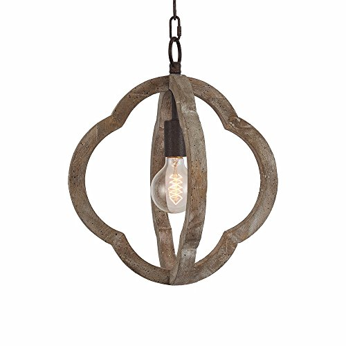 1-Light Vintage Wooden Chandelier Pendant Lamp Antique Chandelier Iron And Wood Frame Orb Chandelier Hanging Ceiling Mount Chandelier Lamp Home Simply Decoration UL Listed , 5 Years Warranty Hanging