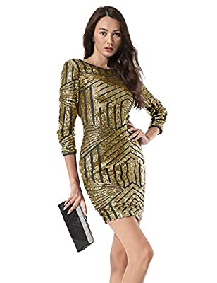 Hiistandd Women Sequin Glitter Long Sleeve Round Neck Backless Bodycon Stretchy Party Dress