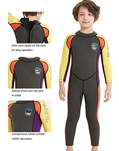 14501d2500e0e Neoprene Kids Wetsuit for Boys Girls 2.5MM One Piece Full Body Long Sleeve  Swimsuit