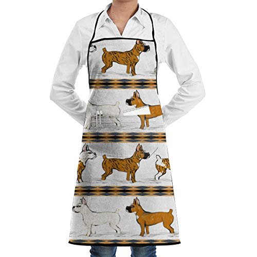 JNSHO-G Kitchens Aprons with Handy Pocket, Assorted Boxer Dogs in Snow Stripe Bib Apron for Men Women ()