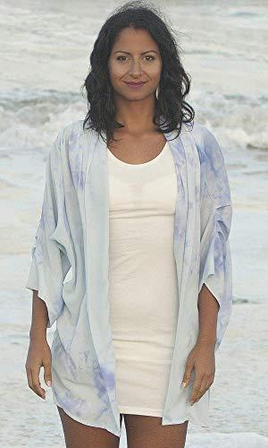 (Hand Dyed Blue Watercolor Chiffon Kimono Jacket. Versatile Kimono Cover. Dressy Special Occasion Silk Jacket. Beach Kimono Duster Cover-Up. KIMON221 KIMN21 ONE Size (S-XL) )