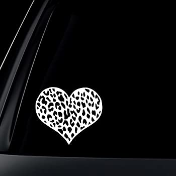 Amazon Com Leopard Print Heart Car Decal Sticker