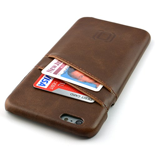 Dockem Card Case for iPhone 6S Plus - Vintage Synthetic Leather Wallet Case, Ultra Slim Professional Executive Snap On Cover with 2 Card Holder Slots, Brown