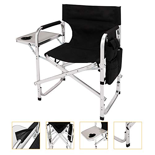 - Mefeir Upgraded Director Makeup Artist Chair Bar Height, Aluminum Frame Supports 300 lbs, Folding Portable with Side Table Storage Bag Black (24.4