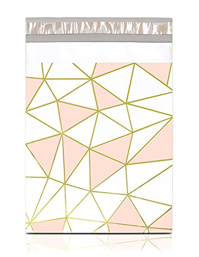 "(Pack It Chic - 10"" X 13"" (100 Pack) Pink Gold Mosaic Geometric Poly Mailer Envelope Plastic Custom Mailing & Shipping Bags - Self Seal (More Designs Available))"