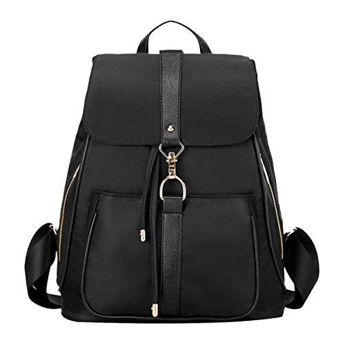 Mädchen Oxford Leder Rucksack Handtasche Bookbag Schultasche Daypack Schwarz Black