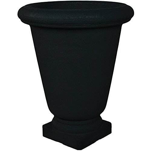 Japi Poly Resin Bell Urn Planter - Black-JP VBU55BK-22''w x 26''h by Japi