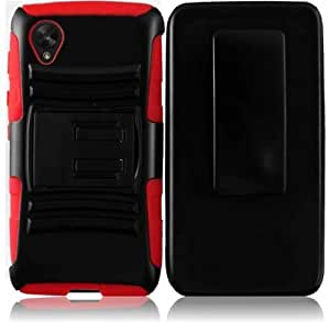 LG Google Nexus 5 D820 Hybrid Hard Cover Belt Clip Holster With Stand - Red On Black