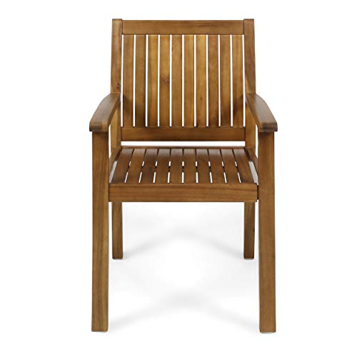 Great Deal Furniture 305350 Teague Outdoor Acacia Wood Dining Chairs Set of 2 , Teak Finish