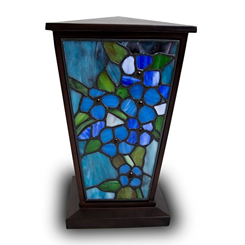 Forget-Me-Not Stained Glass Memorial Urn for Adults - Large - Holds Up to 200 Cubic Inches of Ashes - Blue Cremation Urn for Ashes - Engraving Sold Separately