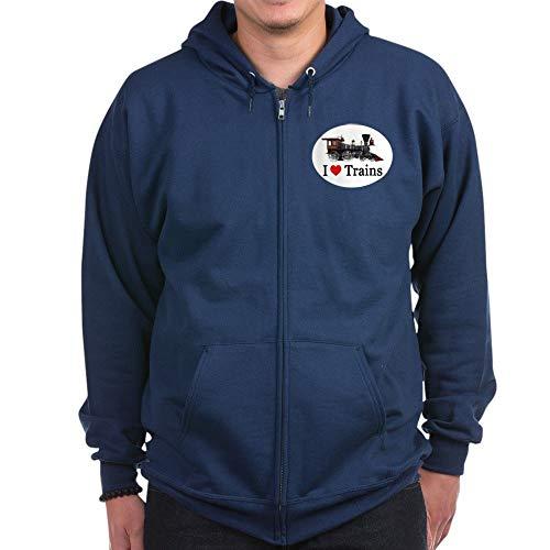CafePress I Love Trains Zip Hoodie, Classic Hooded Sweatshirt with Metal Zipper Navy ()
