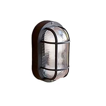 Faro Barcelona Ovalo 71001 - Aplique, 60W, abs termorresistente y difusor de cristal translúcido, color negro