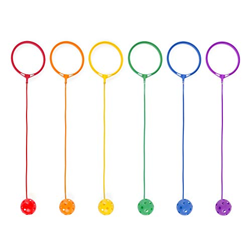 Champion Sports Skip Ball Set: Six Jumping Toy Assorted Colors Swing Balls - Great Kids Fitness Game for Boys and Girls