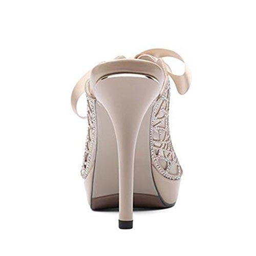 Mouth Thin Female Breathable Bandage Summer Heeled Hollow Sandals Apricot Fashion Slippers Fish Rhinestone High xXBpFna