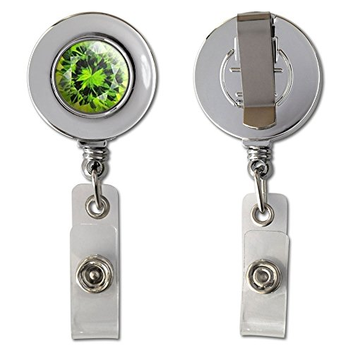 Graphics and More Peridot August Birthstone - Faux Resin Retractable Reel Chrome Badge ID Card Holder Clip