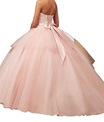 Beading largo Lace XUYUDITA de Sequined fiesta noche Ball Appliques vestidos Vestido de Quinceanera Rosa de Gown zwWO6wSdrq