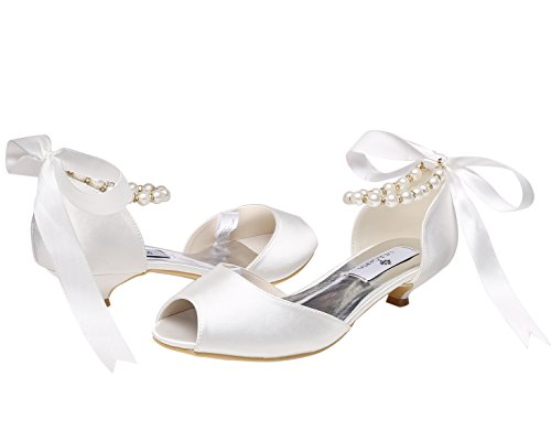 Heel Ribbon Prom Women's Pumps Pearls Shoes Toe M Wedding Rhinestones Low Peep Ivory MULGARIA Satin Yg8TqT